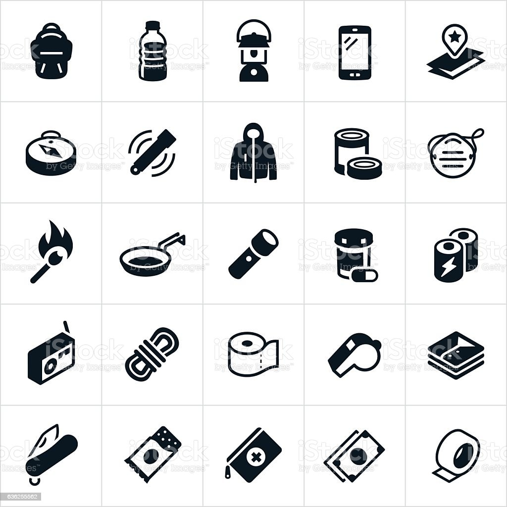 Emergency Preparedness Supplies Icons vector art illustration