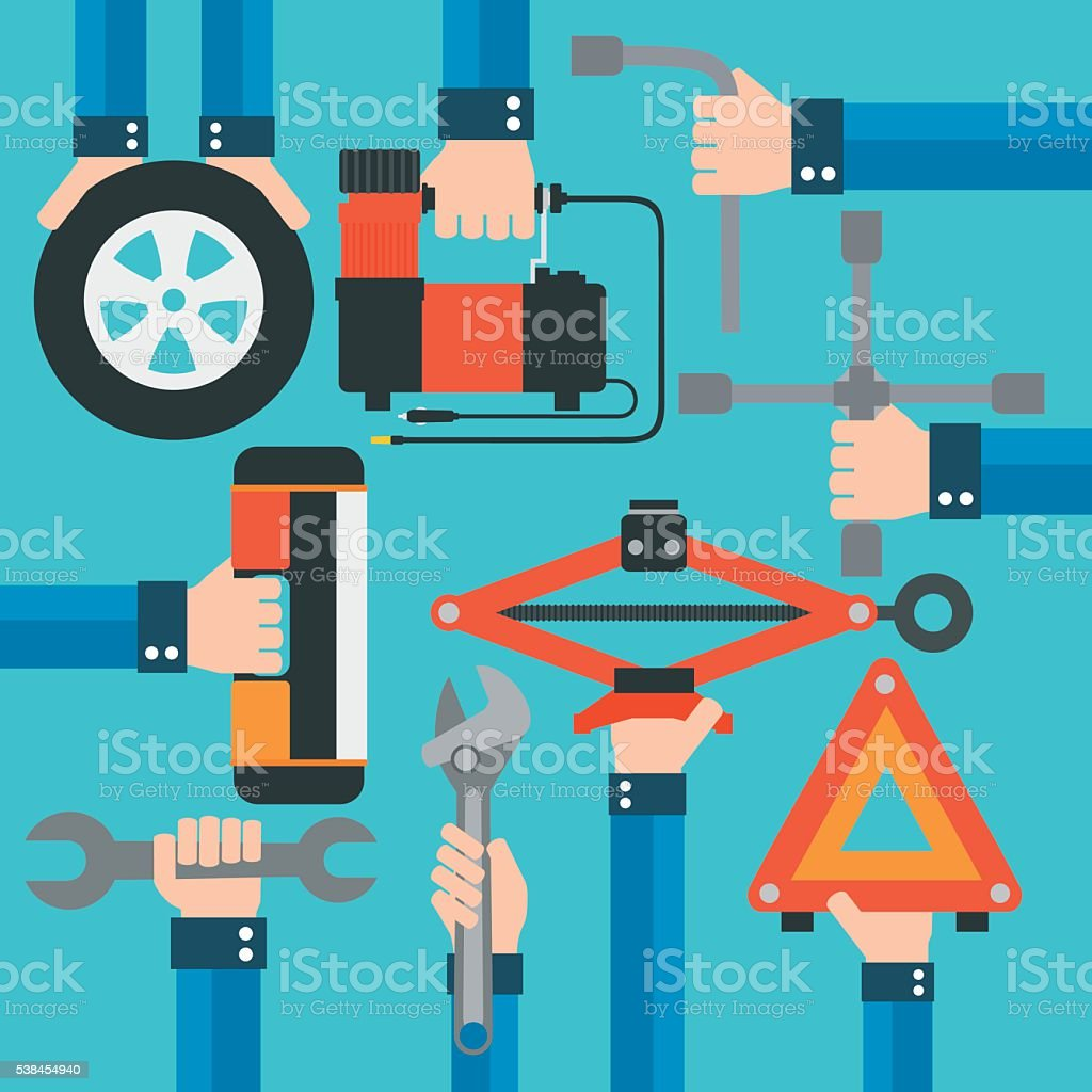 Emergency road kit items,auto mechanic tools modern flat design vector art illustration