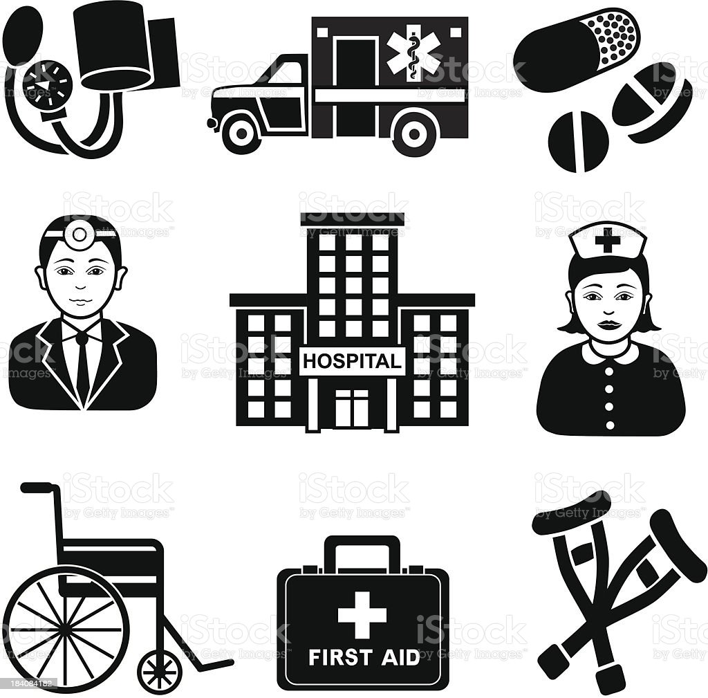 emergency room visit vector art illustration