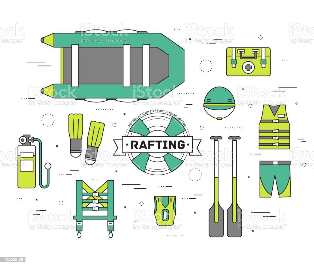 emergency service paramedic lifeguard equipment tools vector art illustration