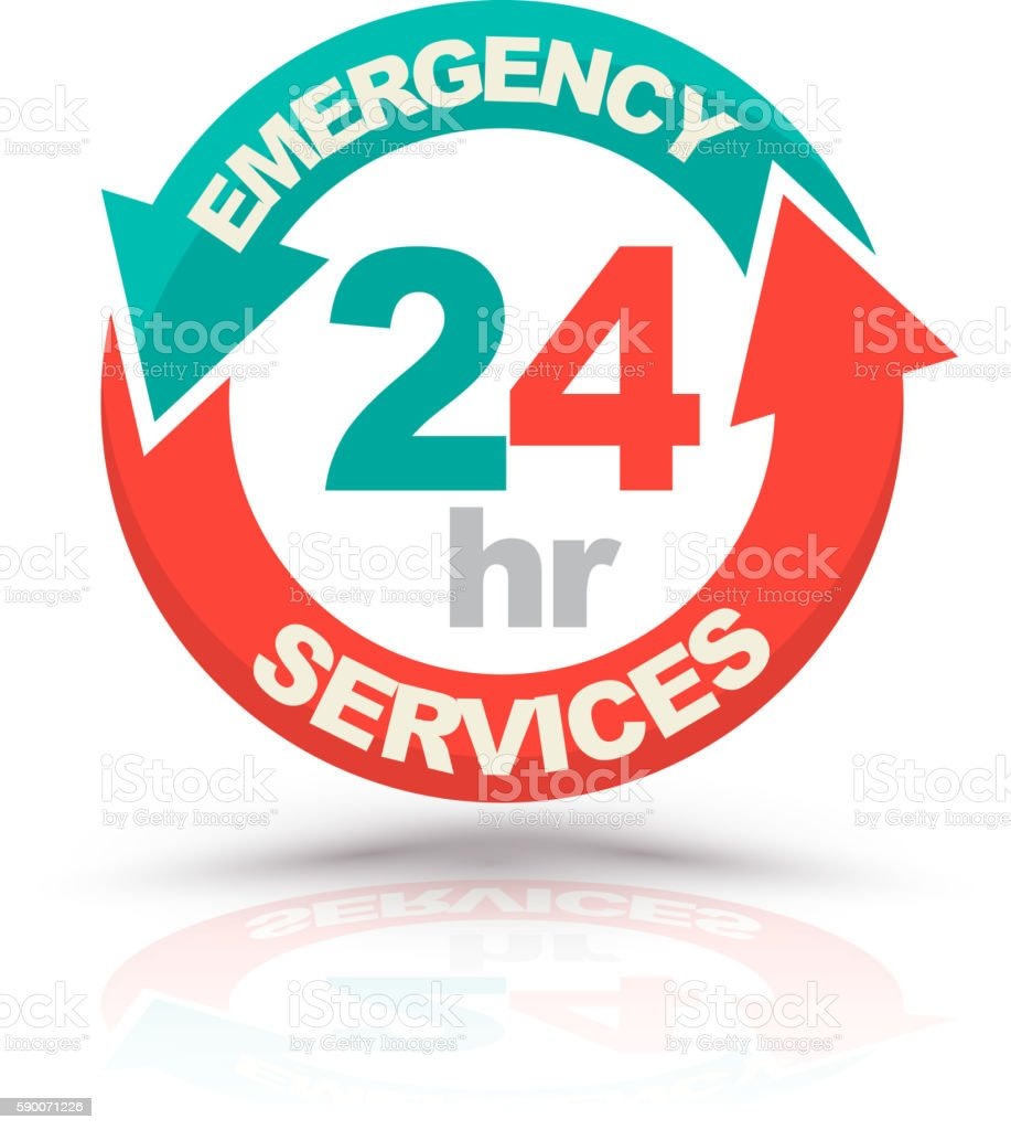 Emergency services 24 hours icon. vector art illustration