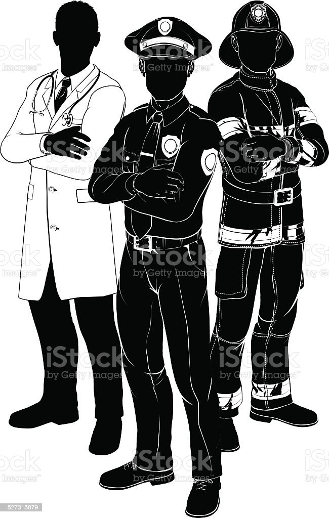 Emergency services team silhouettes vector art illustration