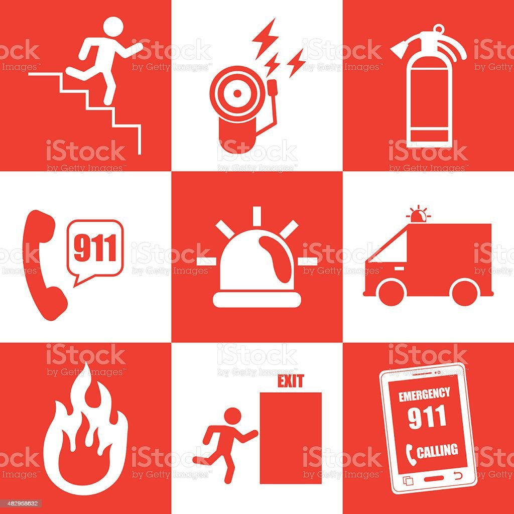 Emergency sign design vector art illustration