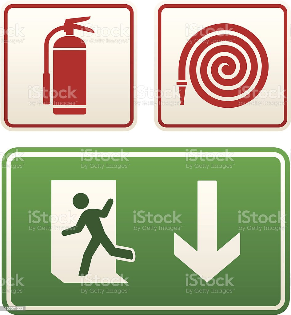 Emergency signs: exit sign, fire extinguisher and hose royalty-free stock vector art