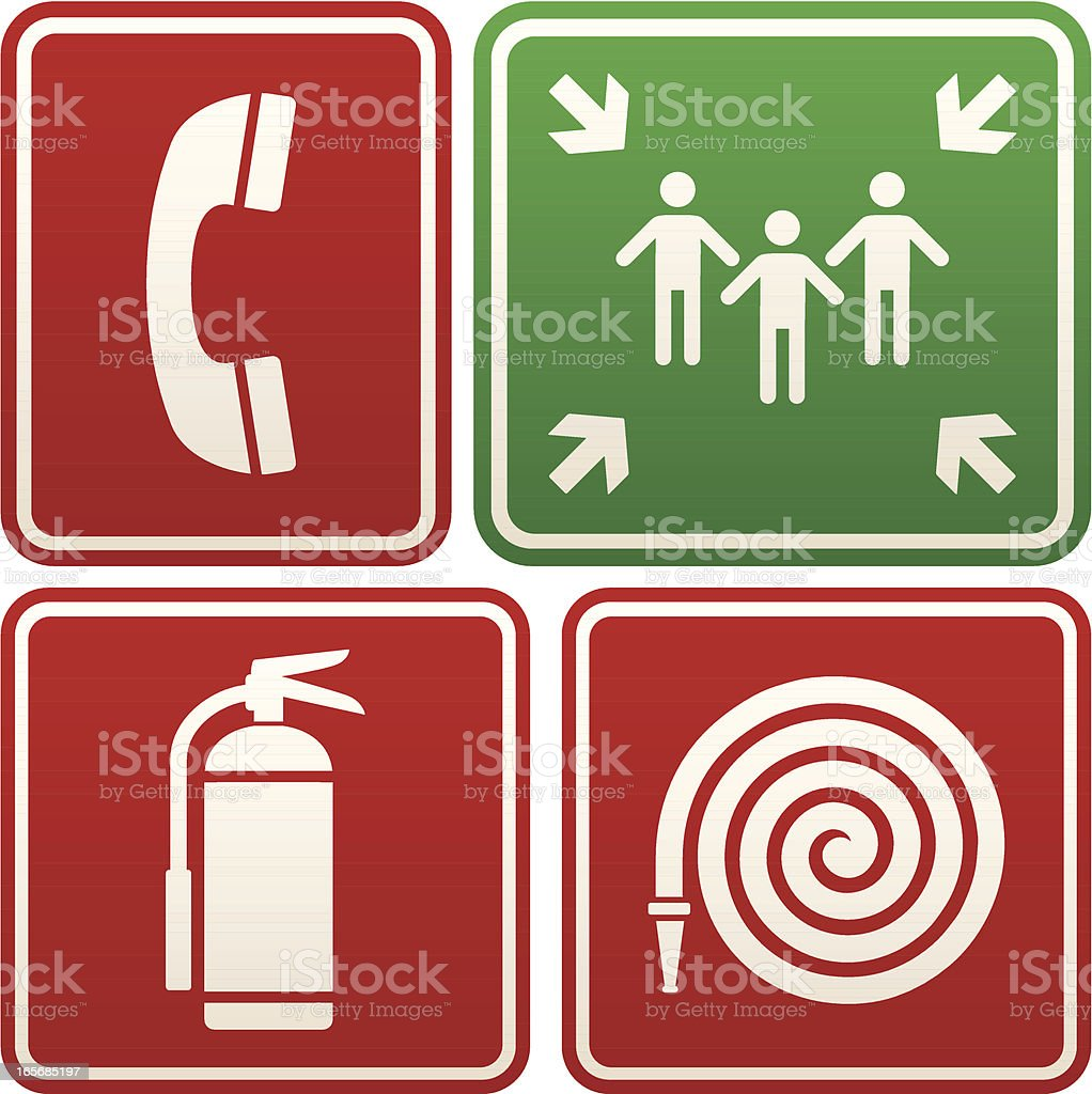 Emergency signs: telephone, meeting point, fire extinguisher and hose royalty-free stock vector art