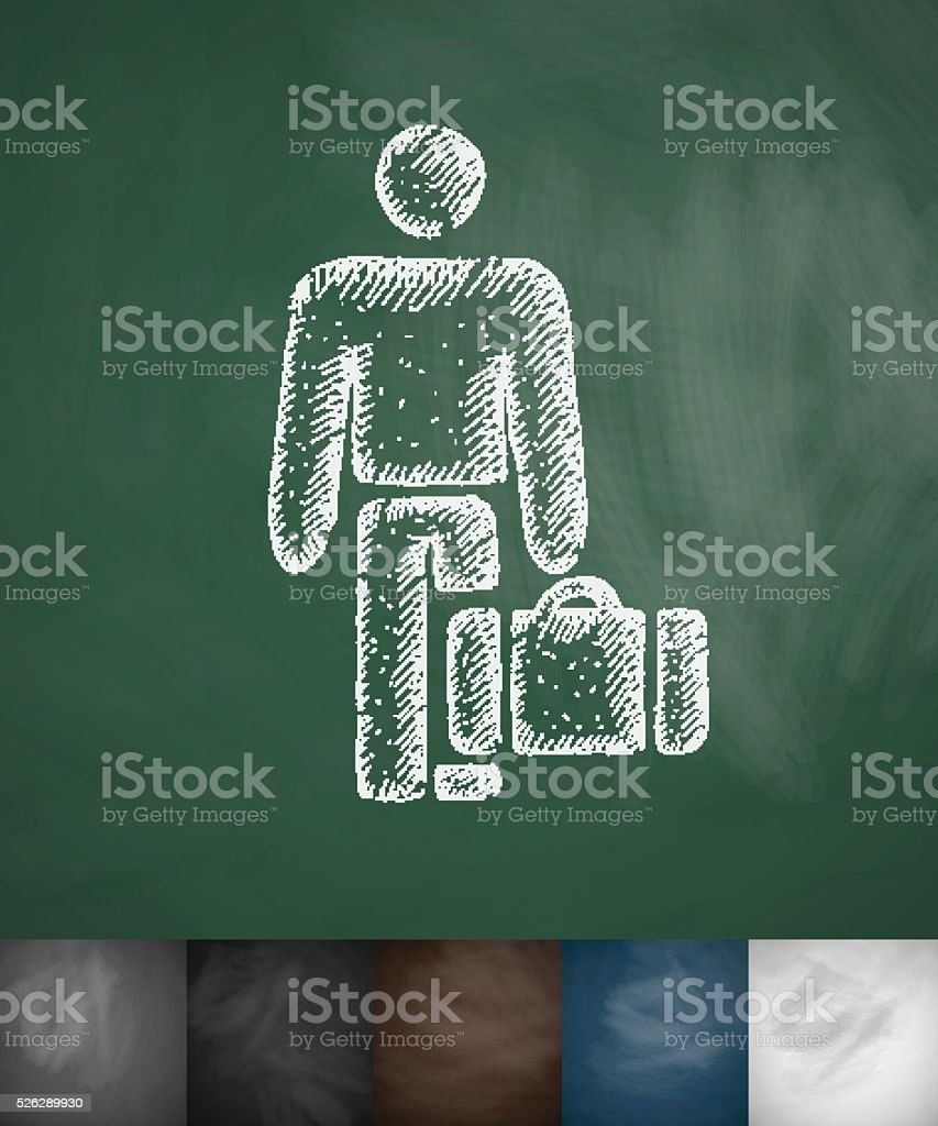 emigrant icon. Hand drawn vector illustration vector art illustration