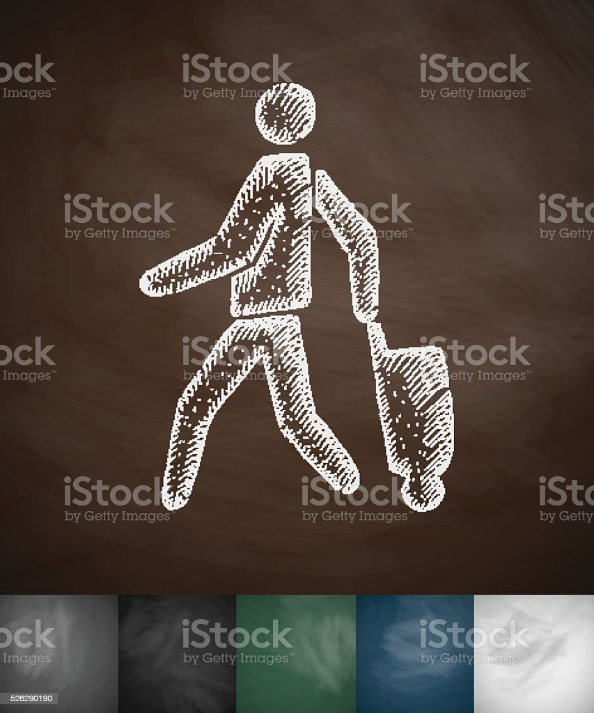 emigrant with suitcase icon. Hand drawn vector illustration vector art illustration