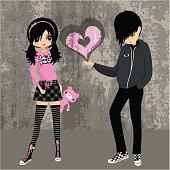 Emo love ? teenager girl lolita cosplay illustration vector