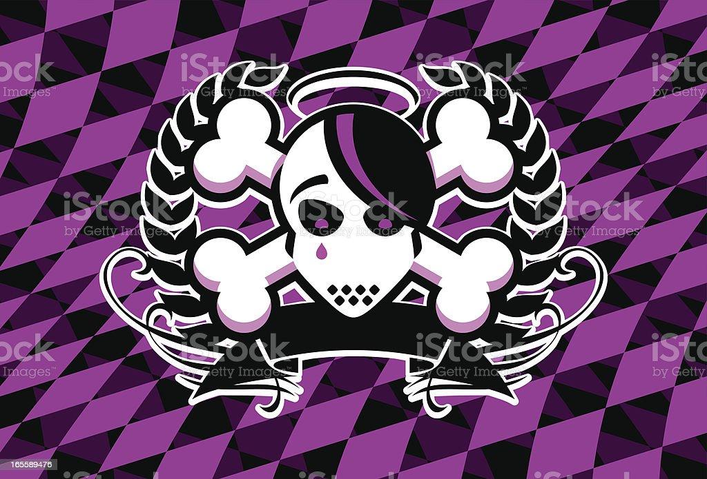Emo Skull Crest royalty-free stock vector art