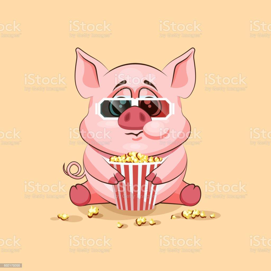Emoji character cartoon Pig chewing popcorn, watching movie in 3D vector art illustration