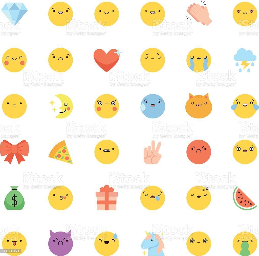 Emoji Icon Vector Set Flat Cute Korean Style Isolated ...