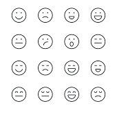Emoji Icons set 1   Black Line series
