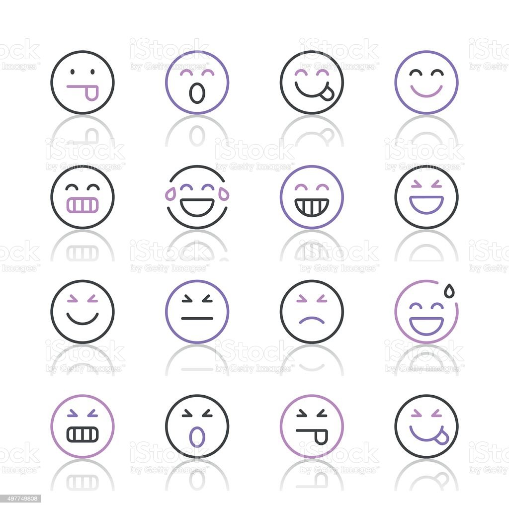Emoji Icons set 2 | Purple Line series vector art illustration