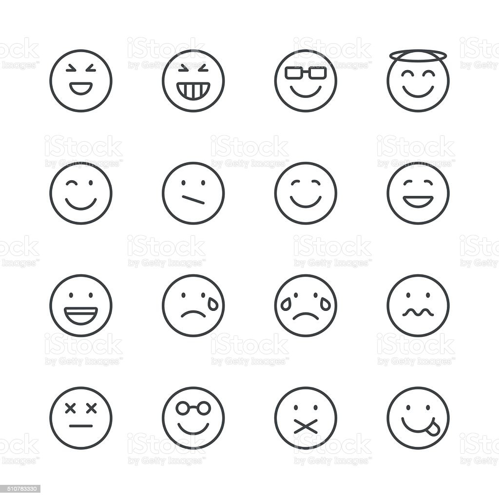 Line Drawing Emoji : Emoji icons set black line series stock vector art