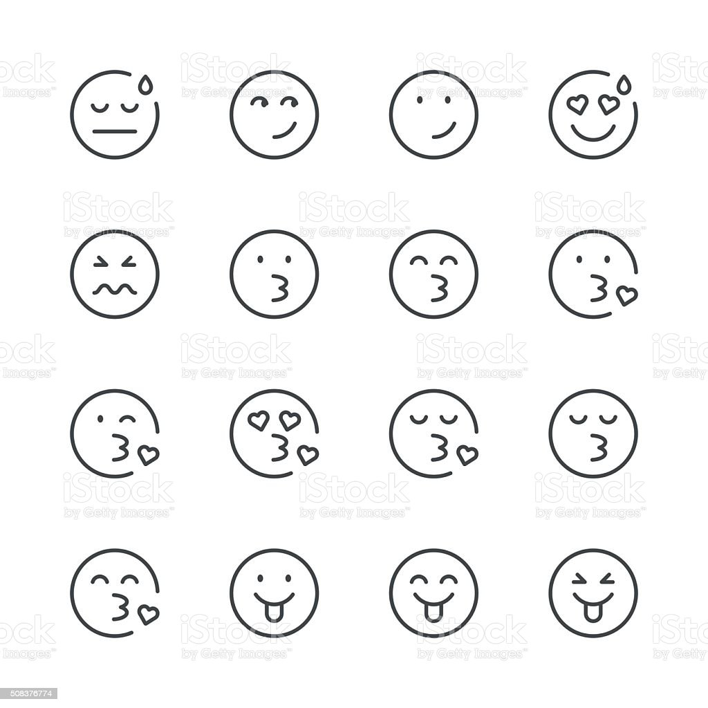 Emoji Icons set 5 | Black Line series vector art illustration