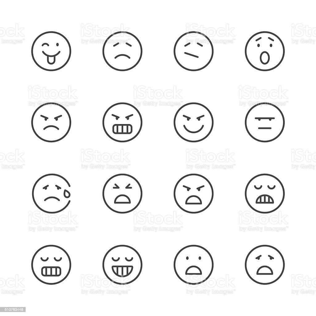 Emoji Icons set 6 | Black Line series vector art illustration