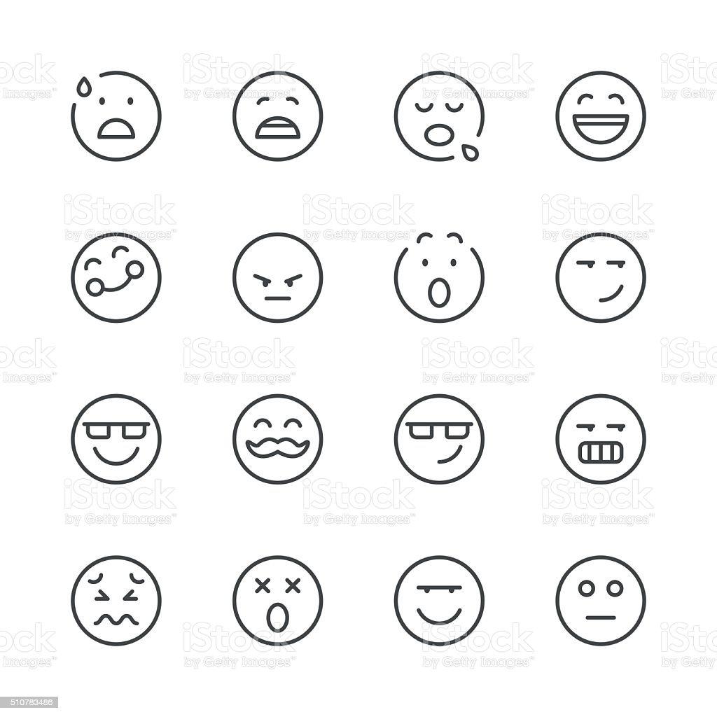 Emoji Icons set 7   Black Line series vector art illustration
