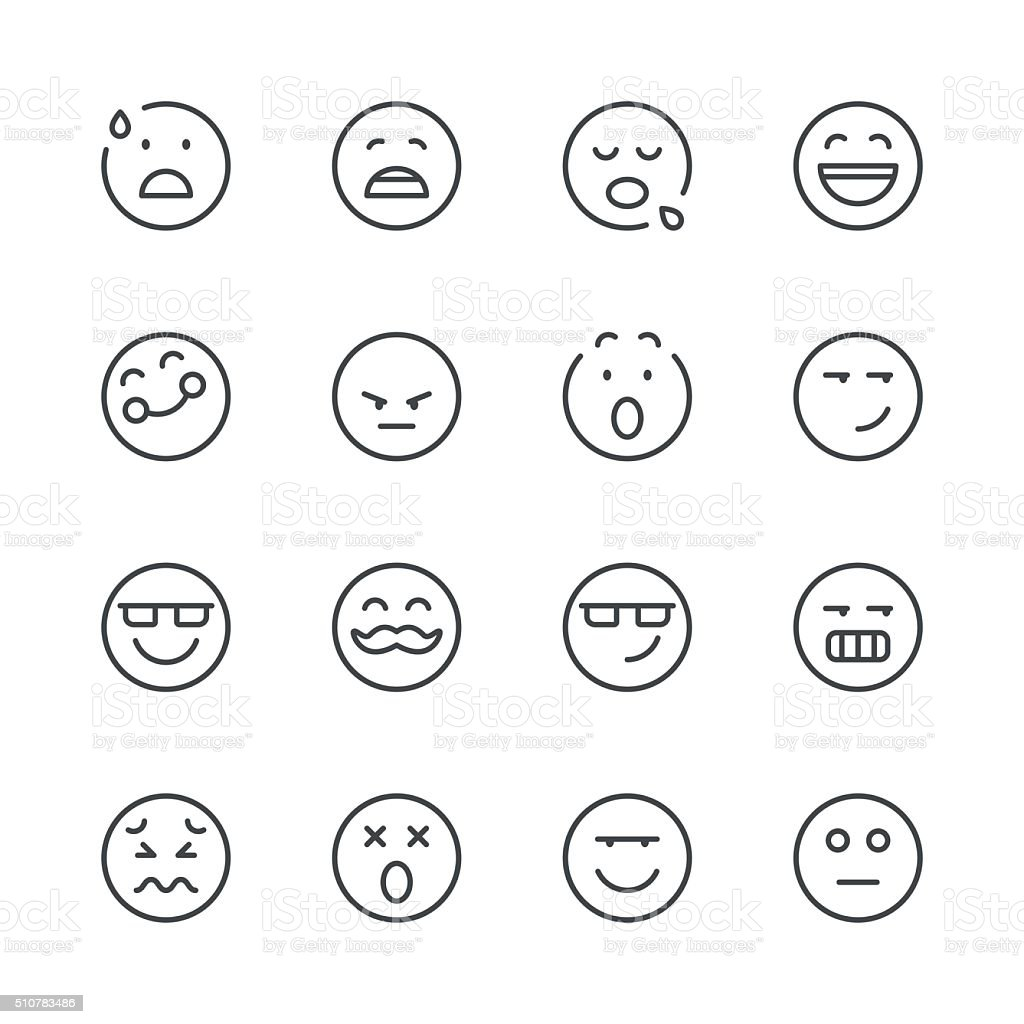 Emoji Icons set 7 | Black Line series vector art illustration