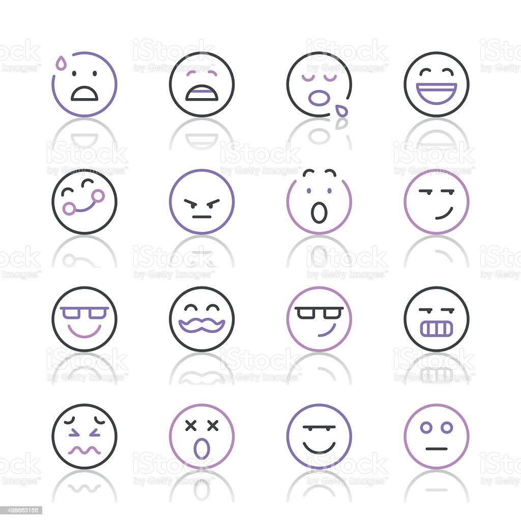 Emoji Icons set 7 | Purple Line series vector art illustration