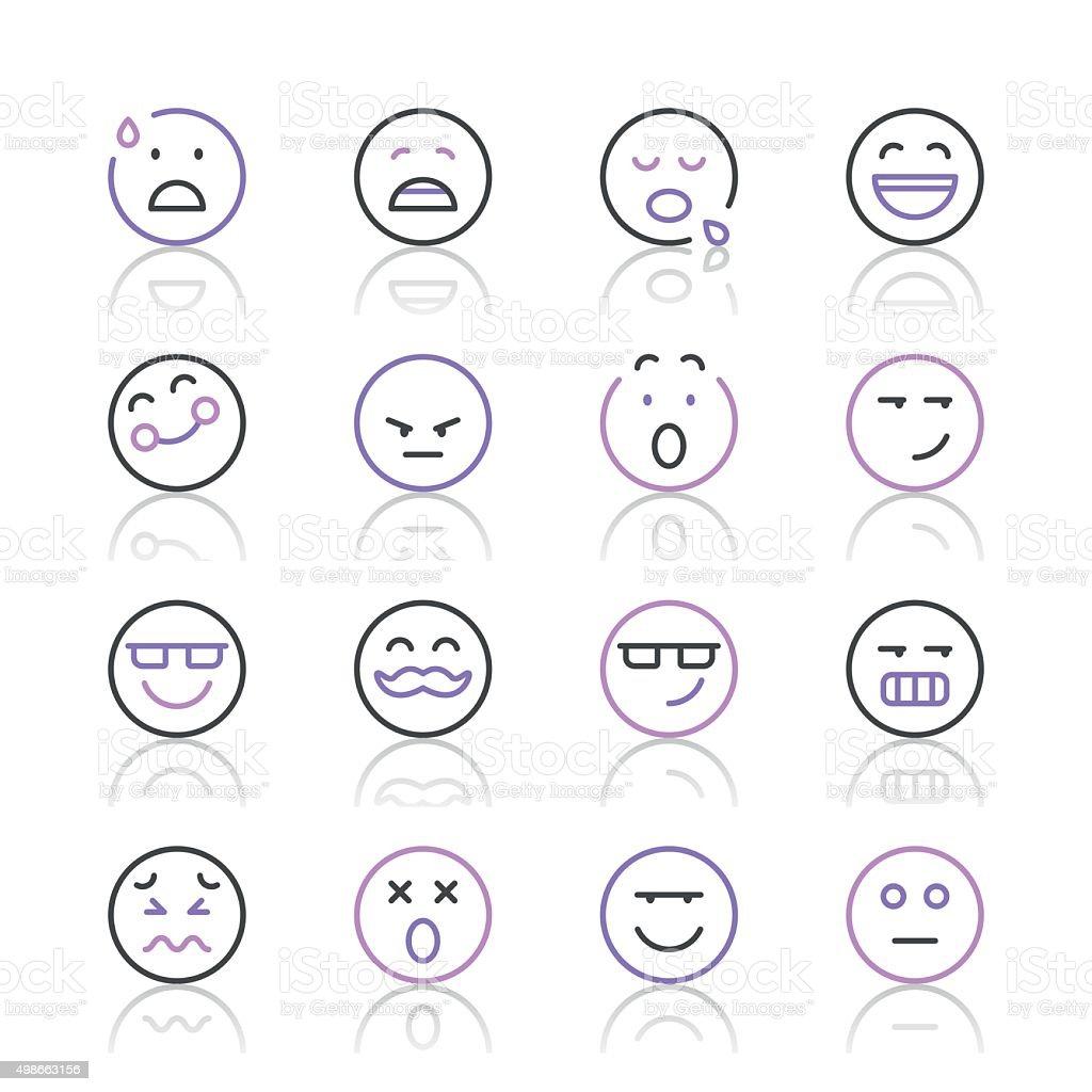 Emoji Icons set 7   Purple Line series vector art illustration