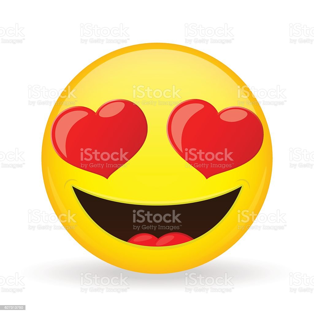 Emoji in love. Emotion of happiness. Amorously smiling emoticon. vector art illustration