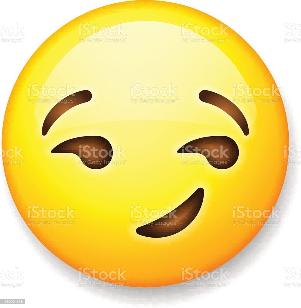 Emoji isolated on white background, emoticon smirking face vector art illustration