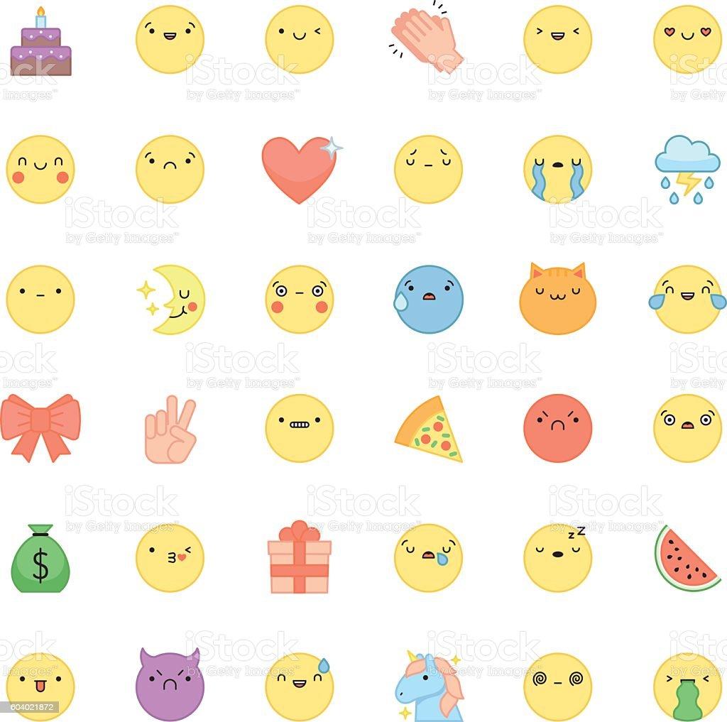Emoji outline icon vector set. Cute emoticons and symbols. vector art illustration