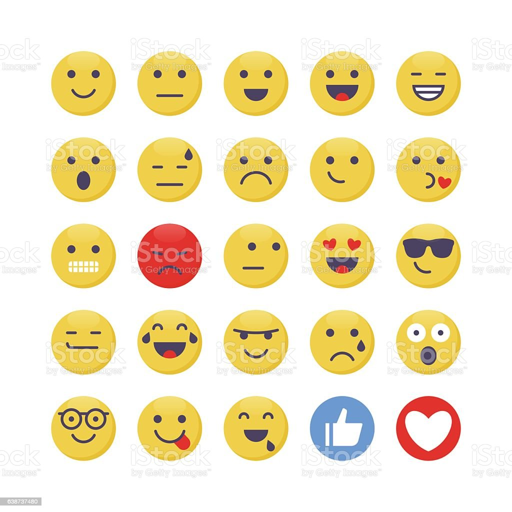 Emoji set 1 vector art illustration