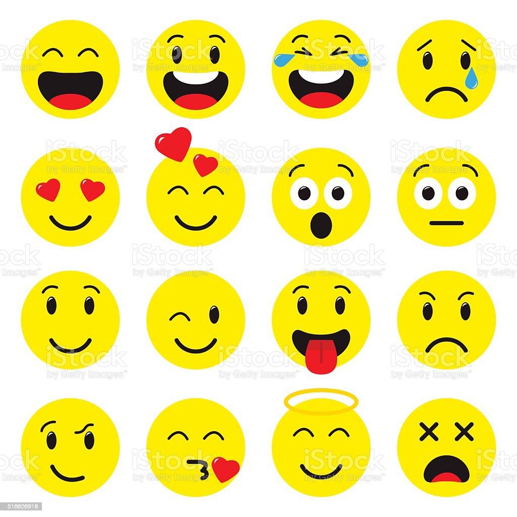 Emoji set icons vector art illustration