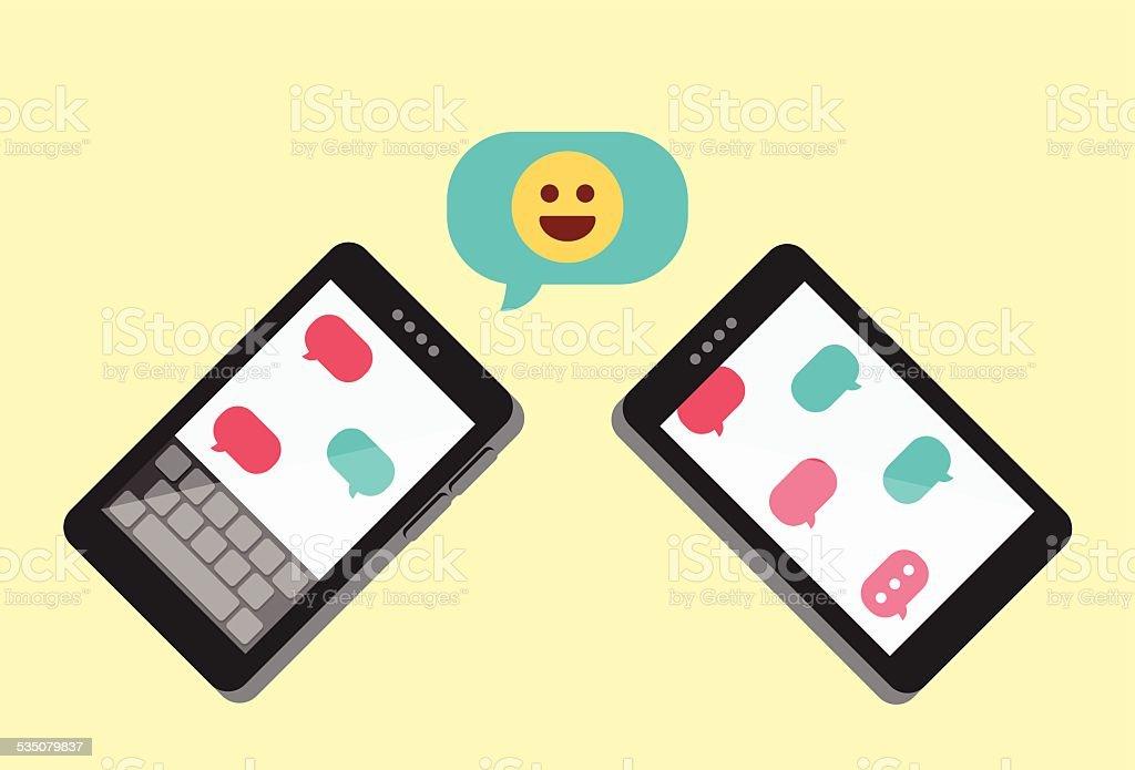 Emoji Talk – Emoticon Text Message Illustration vector art illustration