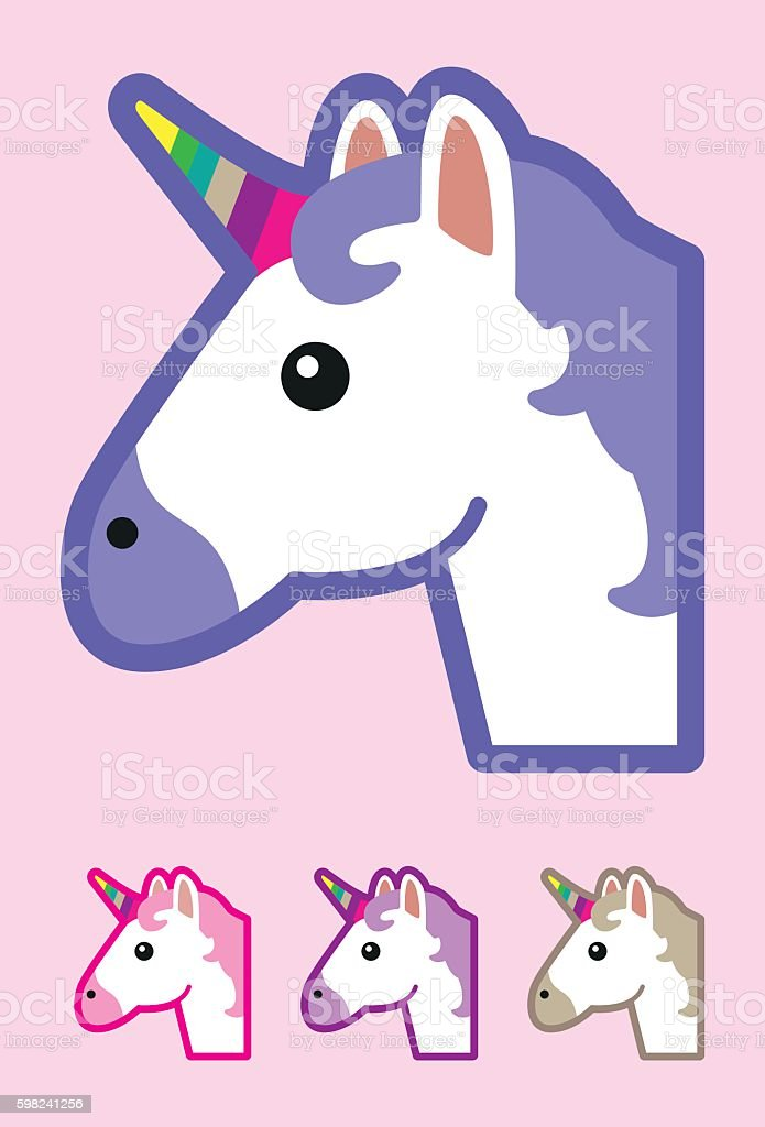 Emoji Unicorn vector art illustration
