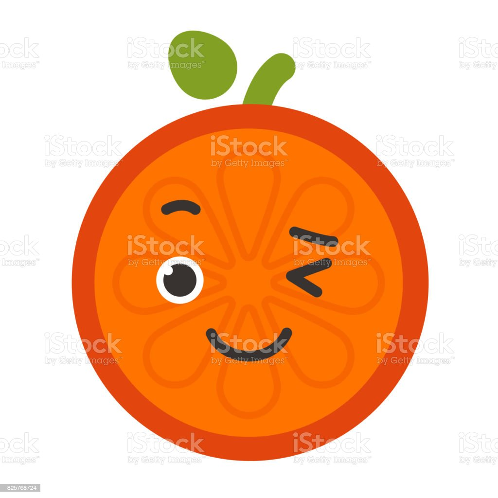 Emoji - winking orange with happy smile. Isolated vector vector art illustration