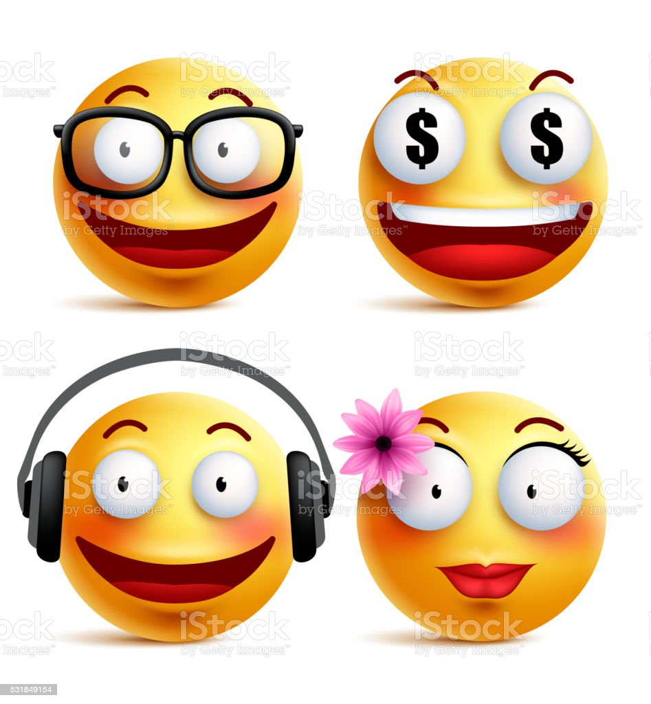 Emoji yellow emoticons or smiley faces collection with funny emotions vector art illustration