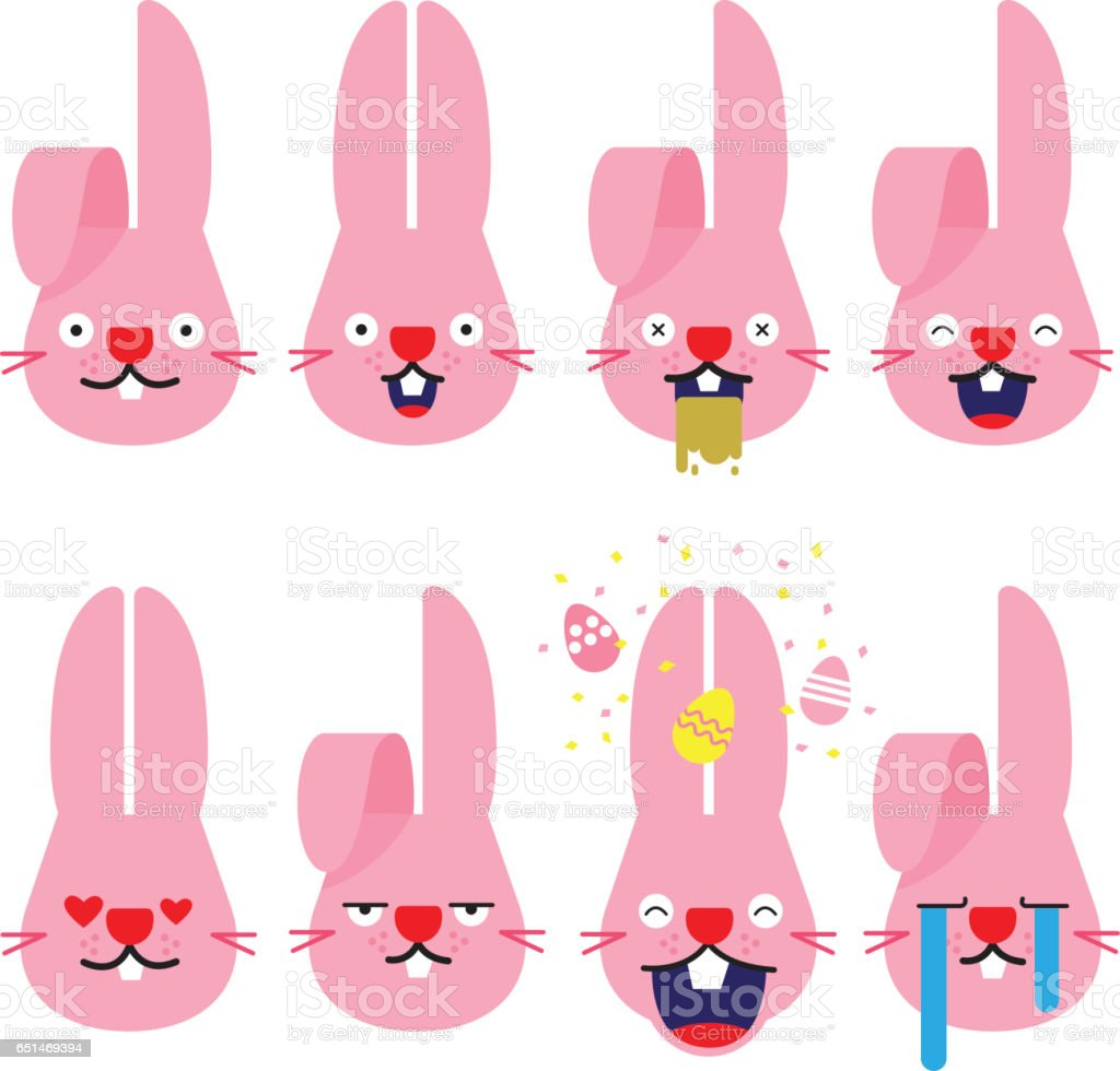 emojis,emoji rabbit, bunny, emotion, vector cartoon. vector art illustration
