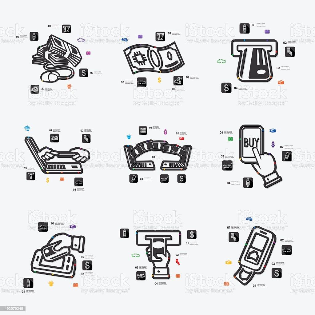 e-money infographic vector art illustration