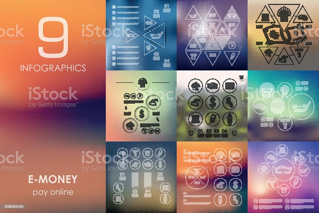 e-money infographic with unfocused background vector art illustration