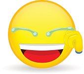 Emoticon hand wipes tears. Laugh emoticon. Smiling emoticon. Joke emoji.