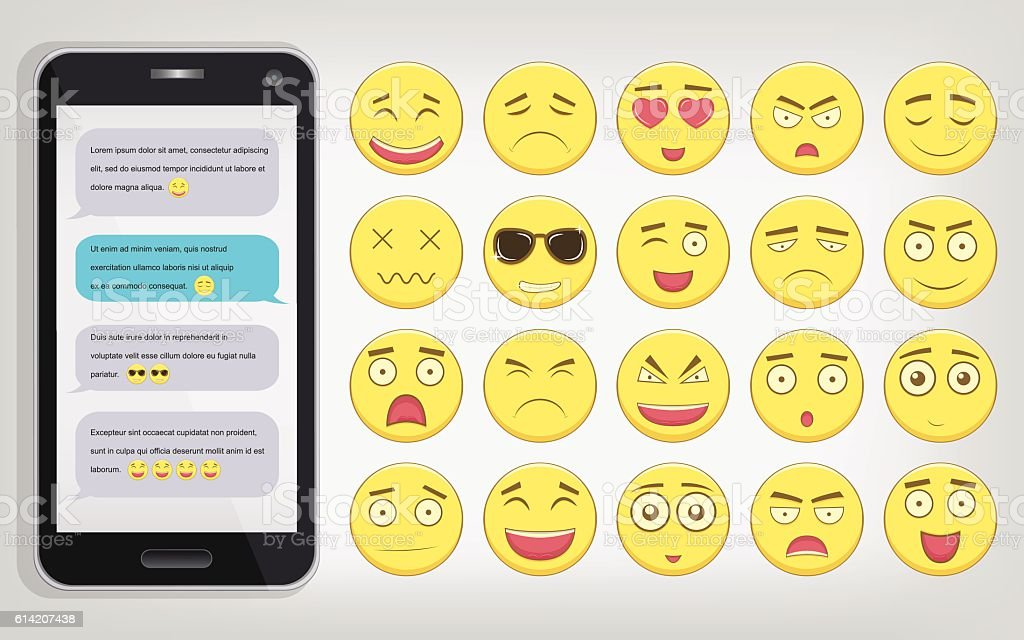 Emoticon set with Phone. Emoticon for web site, chat, sms. royalty-free stock vector art