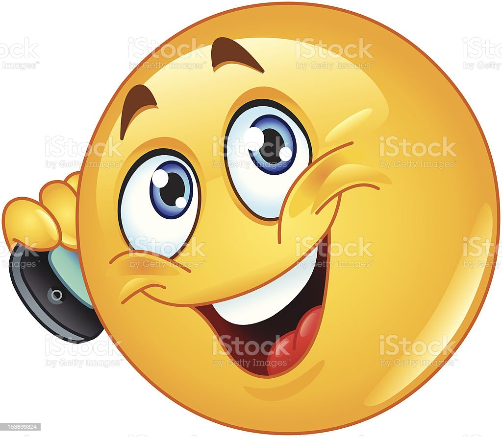 Emoticon with cell phone vector art illustration