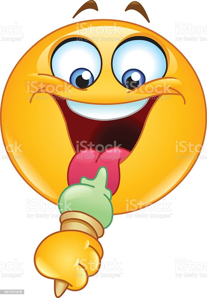 Emoticon with ice cream vector art illustration