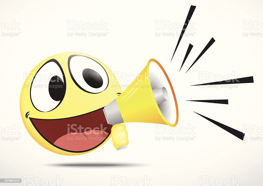 Emoticon with Loudspeaker royalty-free stock vector art
