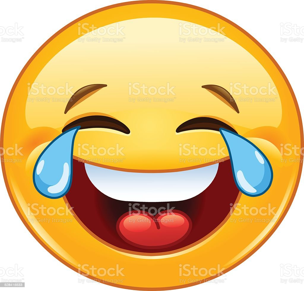 Emoticon with tears of joy vector art illustration
