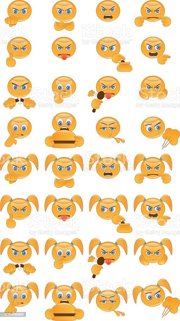 Emoticons with bad habits and behavior vector art illustration