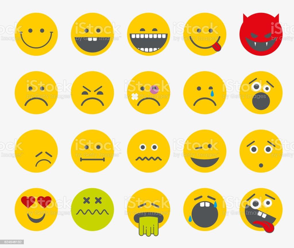 Emoticons, emoji, smiley flat vector set vector art illustration