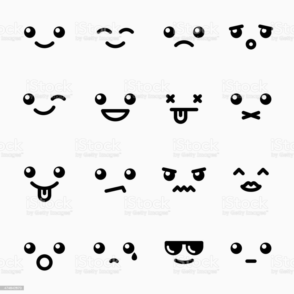 Emoticons faces set vector art illustration