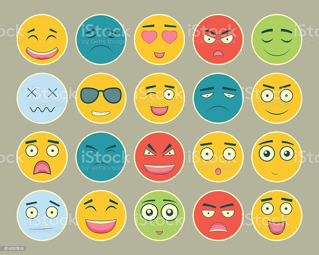 Emoticons flat design set. Emoticon for web site, chat, sms. royalty-free stock vector art