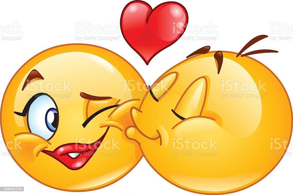 Emoticons kissing vector art illustration