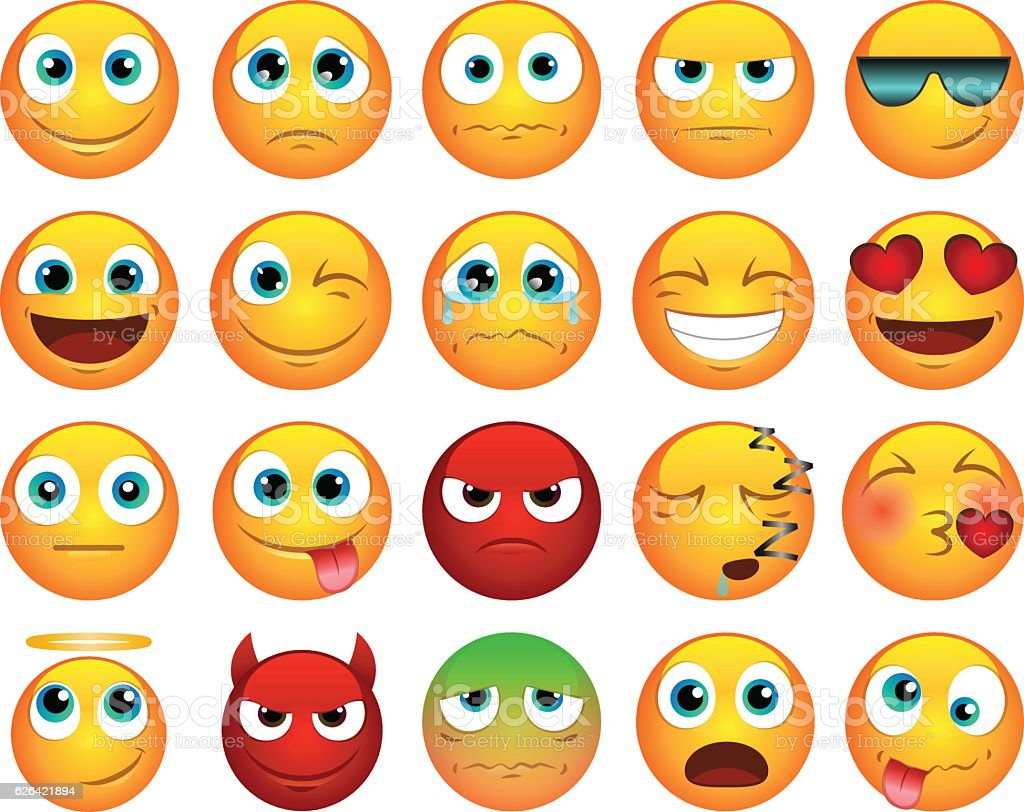 Emoticons or smiley icons set vector art illustration