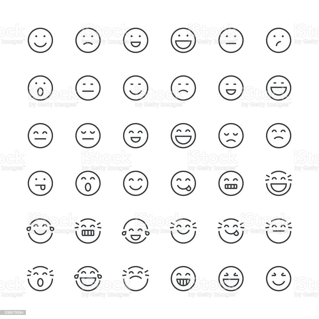 Emoticons set 1 | Thin Line series vector art illustration