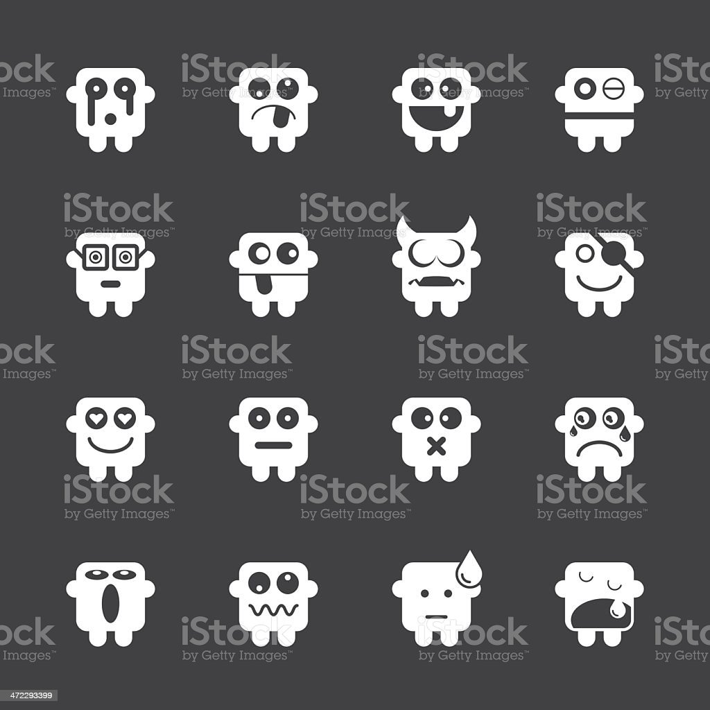 Emoticons Set 1 - White Series | EPS10 royalty-free stock vector art